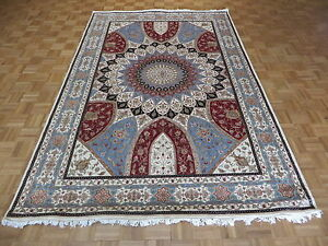 6'6 X 10 Hand Knotted Ivory Nain Gombad With Silk Oriental Rug G3858