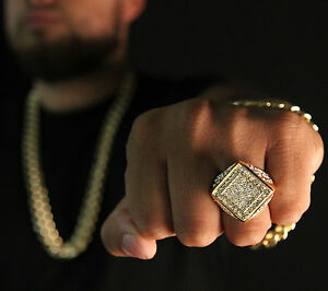 Men-039-s-14K-Gold-Plated-Hip-Hop-Claw-Curved-Side-CZ-Ring-Sizes-7-8-9-10-11-12