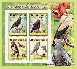 Burundi 2014 MNH Birds of Burundi Birds of Prey 4v Deluxe M/S Eagles Kestrel