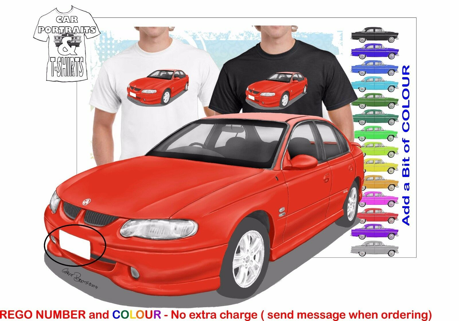 CLASSIC 2000-02 VX SS COMMODORE  ILLUSTRATED T-SHIRT MUSCLE RETRO SPORTS