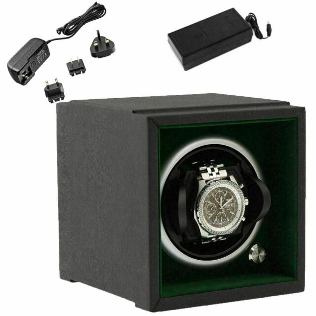 Watch Winder Larger Wrist Sizes Black Soft Touch with Green by Aevitas