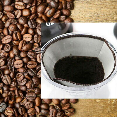 1 pc Coffee Filter Reusable Double-layer Cone Stainless Steel Dripper for Cafe
