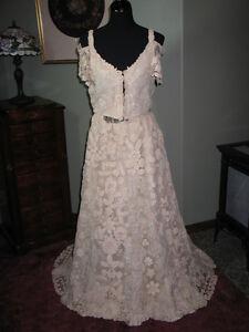 Romantic-Antique-Irish-Crochet-Lace-Wedding-Dress-Gown-Mid-Late-1800s-2-PC-WOW