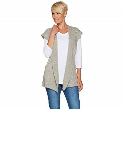 2-Ply Cashmere Open Front Hooded Vest-Gray-XXS-NEW Isaac Mizrahi Live