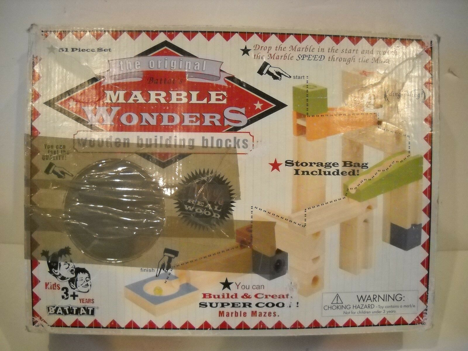 Battat's Marble Wonders Wooden Building Blocks Marble Track Toy 51pcs retro used