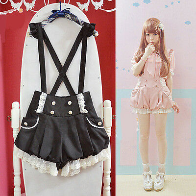 Cute! Brand New Kawaii Girls Lolita Suspender Lace Pumpkin Shorts Lantern Pants