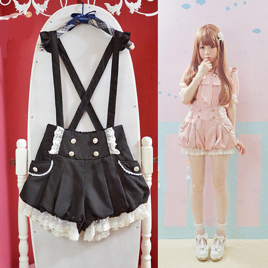 Brand New Kawaii Girls Lolita Suspender Lace Pumpkin Shorts Cute Lantern Pants