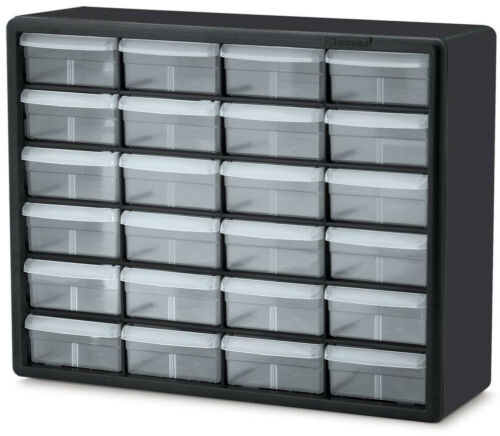Small Parts Organizer Storage Cabinet 24-Compartment Drawers Bins Hardware Tool