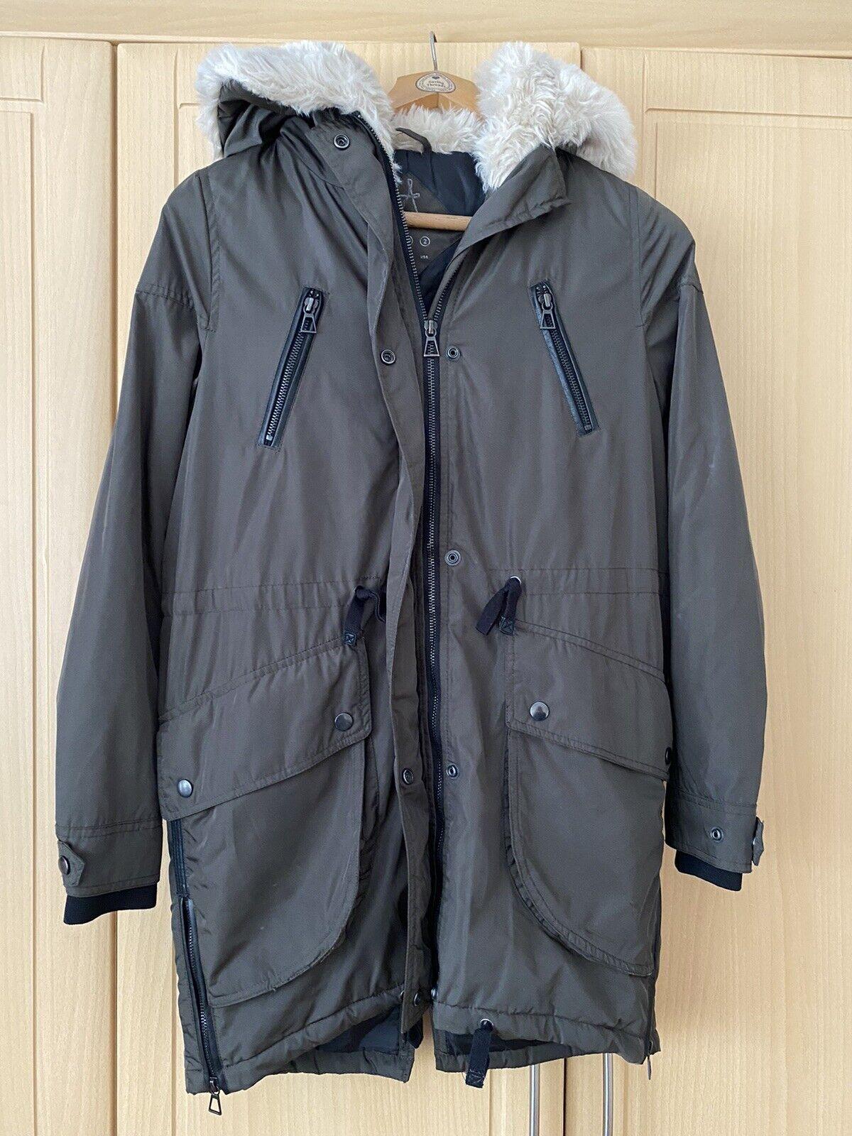 Ladies Parka Style Coat Size 6, Khaki ❤️benefits Charity ❤️