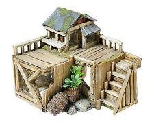 Wooden Corner House Hut Cabin & Plants Aquarium Ornament Fish Tank Decoration