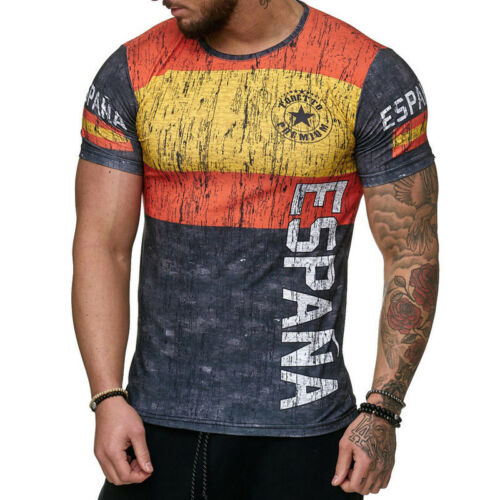 Mens Letter Muscle Tops Tee Casual Gym Sports Slim Fitness Short Sleeve T-Shirt