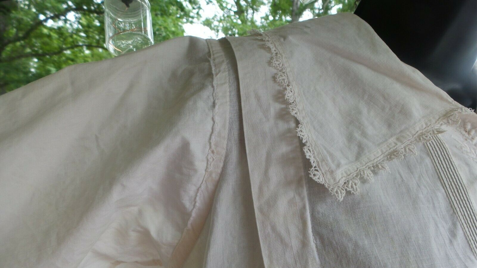 ANTIQUE! Hand STITCHED Women's BLOUSE With LACE C… - image 10