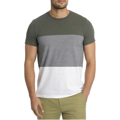 NEW Blaq Heart Tree Blocked Stripe Tee Khaki