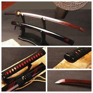 Handmade Japanese Samurai Sword Katana Folded Steel Red Blade Sharp  Full Tang