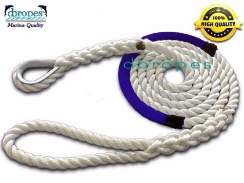 "3 Strand Mooring Pendant 100/% Nylon Rope 5//8/"" X 12/' Thimble/&Blue Chafe Guard"