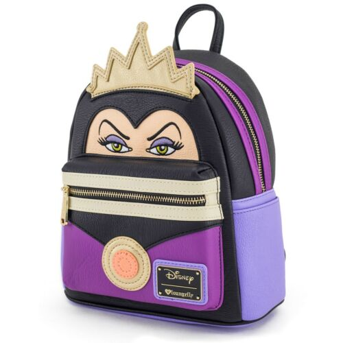 $ LOUNGEFLY DISNEY School Bag Backpack SNOW WHITE EVIL QUEEN Faux Leather PURPLE