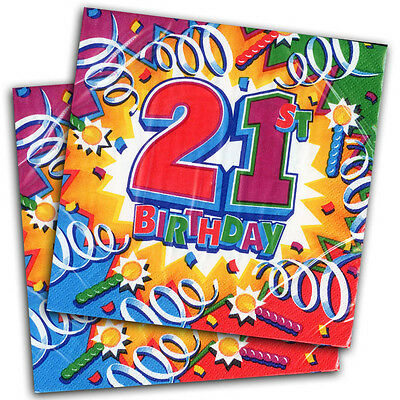 "16 Celebration Explosion 21st Birthday Party Disposable 6.5"" Paper Napkins"