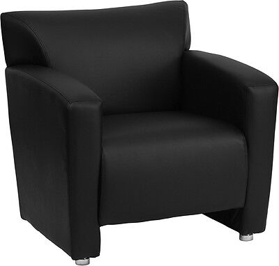 Majestic Series Black Leather Reception Area Side Chair - Guest Lounge Chair