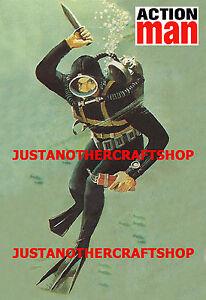 Action-Man-Decada-de-1960-Marinero-Azul-Marino-Hombre-Rana-A3-tamano-poster-anuncio-tienda-firmar-el