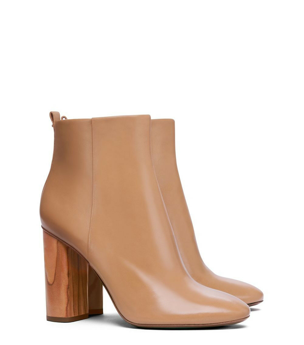 NEW TORY BURCH SZ 6.5 RAYA ANKLE LEATHER BOOTS BOOTIE SAND