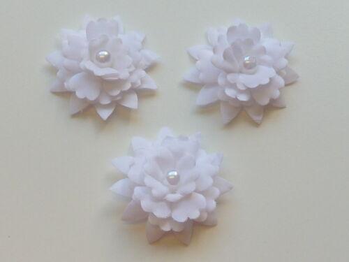 10 belles 5 cm blanc épaisseur rembourré fleurs avec perlée perle au centre