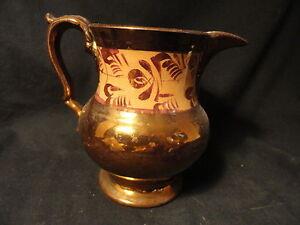 Antique-Enameled-Copper-Luster-Pottery-Creamer-Orange-Decorated-Band