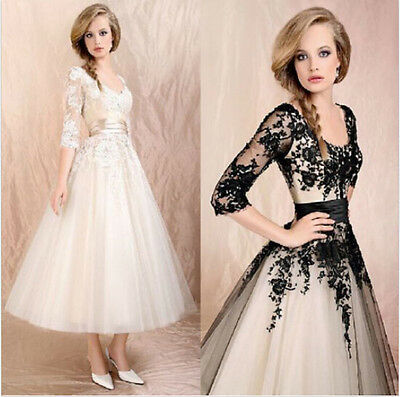 Women's Wedding Dress Party Bridal Lace Prom Ball Cocktail Formal Evening Gown