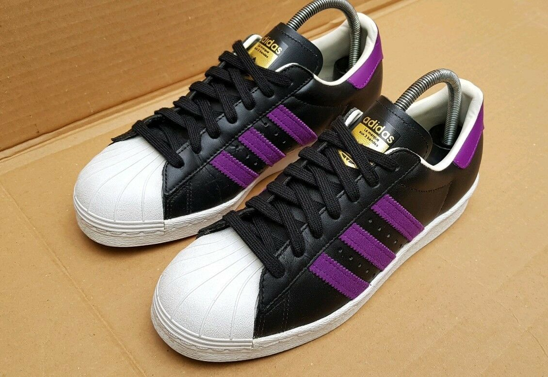 Zapatillas Adidas Superstar 80s Edición Limitada Reino Unido Negro Púrpura usado dos veces