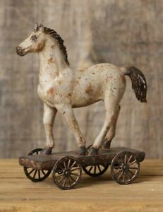 PRIMITIVE-HORSE-ON-WHEELS-Country-Farmhouse-Rustic-Farm-Resin-Vintage-Look-SMALL