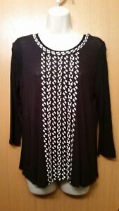 Women-039-s-Lucky-Brand-Black-Embroidered-Front-3-4-Sleeve-Tee-Top-Blouse-Small-S