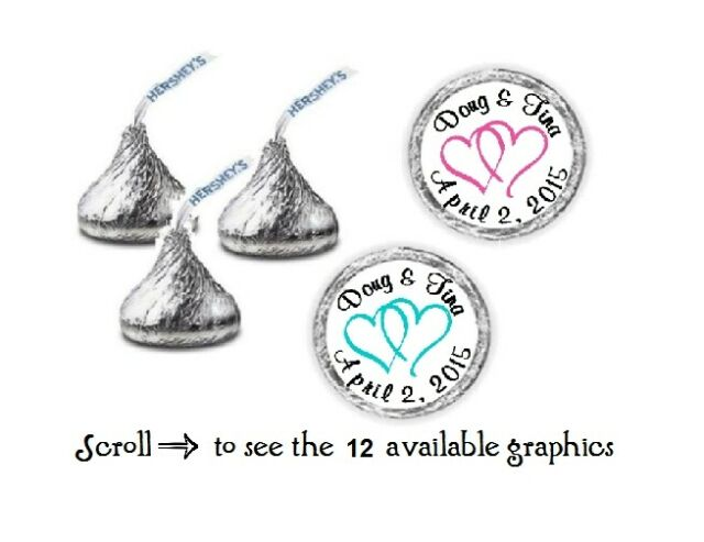 """108 Personalized Hershey Kiss Stickers Under The Sea 3//4/"""" Inches"""