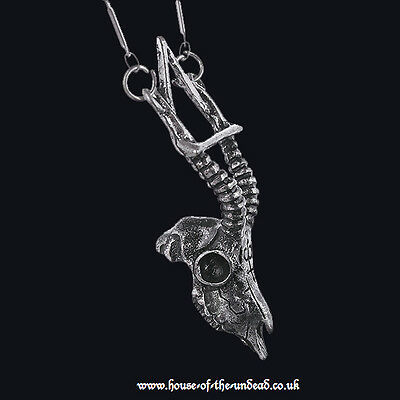 RESTYLE GAZELLE SKULL SILVER NECKLACE. ARSENIC SYMBOL. OCCULT SYMBOLISM. GOTHIC.