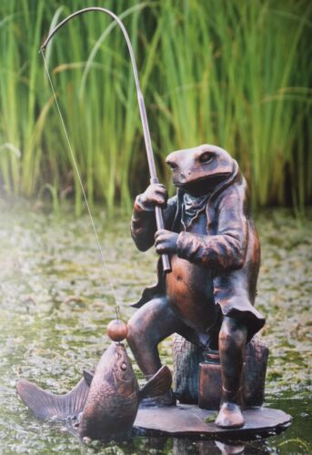 Fisher Toad pêche Grenouille Jardin Statue Riverbank collection bronze