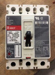 Westinghouse Motor Circuit Protector HMCP007C0C 7 Amp 600 Volt 3 Pole