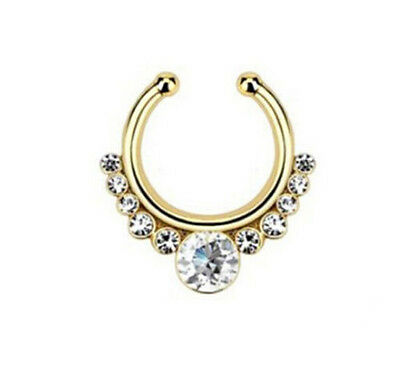 1Pcs Fake Septum Clicker Crystal Nose Ring Non Piercing Hanger Clip On Jewelry
