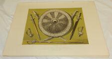 1863 Antique COLOR Print/INLAID SHIELD & SWORDS/Belgian Exposition/ORNATE