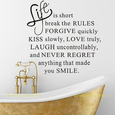 Removable Decals Live Life Love Kiss Proverb Wall Posters Sticker Decor