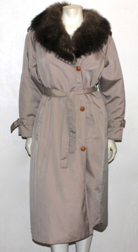 Taylor For Russel Cashin Bonnie Collar Med Vintage Trenchcoat Distress 8 Fur OqBfnnFxw