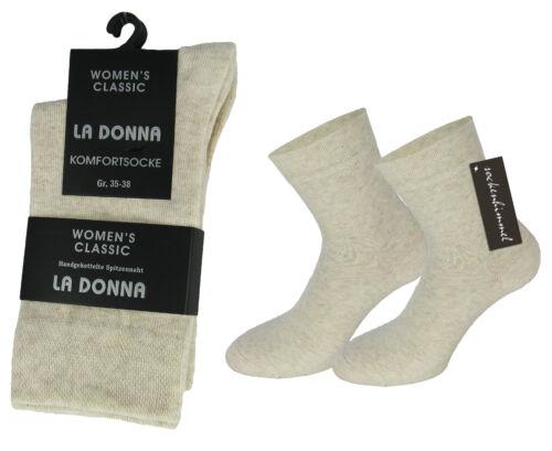 6 paia di calze da donna senza Elastico cotone Uomo diabetici senza cuciture colore crema