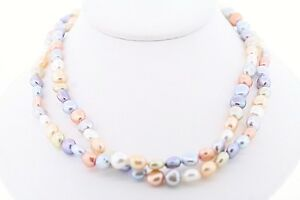 HONORA-36-in-Genuine-Freshwater-8-9mm-Mixed-Dyed-034-Pastel-034-Baroque-Pearl-Necklace