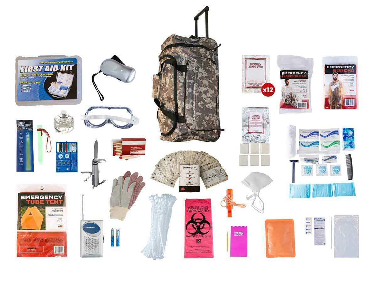 Survival Kit 72 Hrs - CAMO Wheel Bag Food Water Purify Tablets