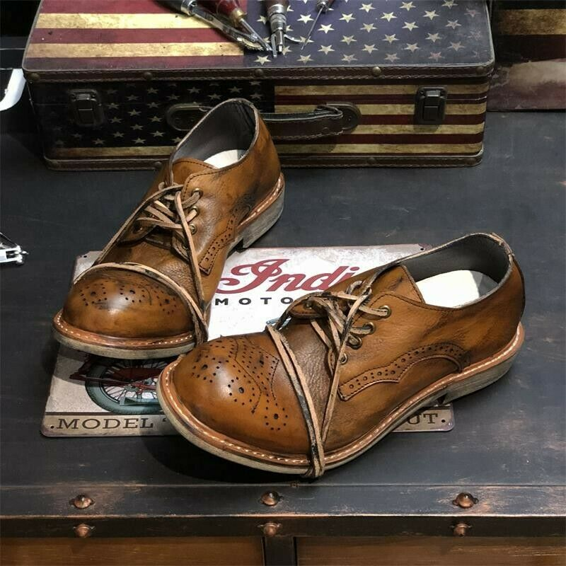 Genuine Leather Mens Carving Handmade Lace Up Wing Tip Low Low Low Top Brogues scarpe Hot 4eee0b