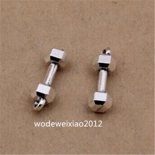 30pc Tibetan Silver Dumbbell Pendant Bracelet Charms Jewelry wholesale JP1188