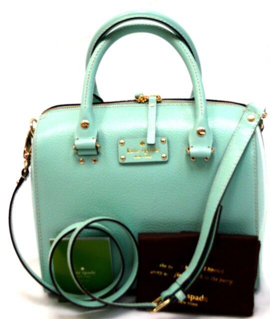 Kate Spade Wellesley Alessa Leather Satchel Crossbody Bag Robins Egg Blue