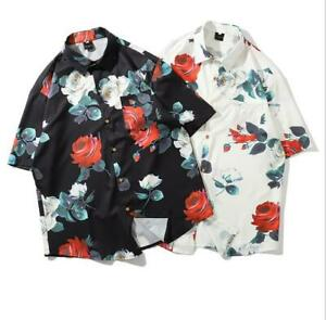 Men S Youth Fashion Rose Floral Short Sleeve Summer Beach Hawaii Shirt Top Bghe Ebay