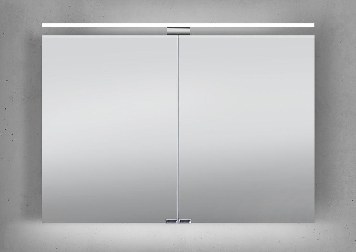 Spiegelschrank 100 cm LED Beleuchtung doppelseitig verspiegelt   Weiß Hochglanz
