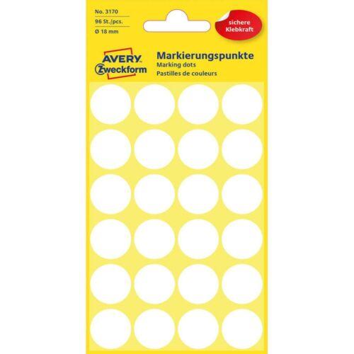 Avery Zweckform Klebepunkte Markierungspunkte Etiketten 18,0mm 96Stück weiß Rund