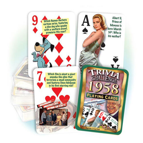Flickback 1958 Trivia Playing Cards 61st Birthday or 61st Anniversary Gift