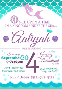 mermaid pool party theme party invitation personalized custom you