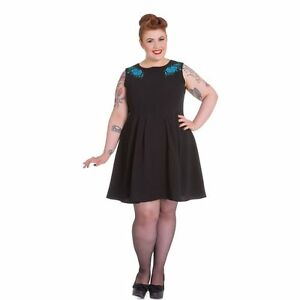 NEW-PLUS-SIZE-BLACK-DRESS-BLUE-FLORAL-EMBROIDERY-18-20-22-RETRO-WORK-HELLBUNNY